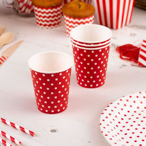 Carnival Red Paper Cups - Dots (8)